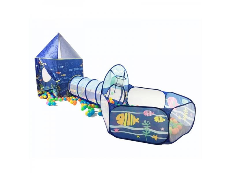 Set cort de joaca pentru copii 3 in 1 in forma de castel Alibibi