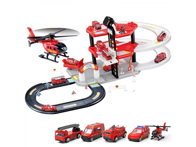 Garaj de masini multifunctional Alibibi cu patru masinute si un elicopter inclus
