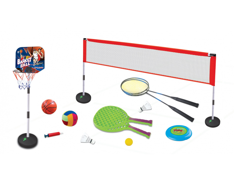 Set sport multifunctional 5 in 1 Alibibi ce contine cos minge baschet, rachete badminton, fileu