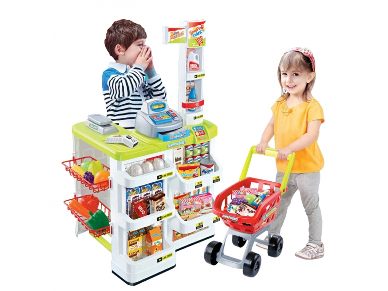 Set de joaca supermarket Alibibi cu casa de marcat, cantar, scanner, lumini si sunete si o multime de accesorii