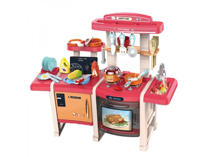 Bucatarie multifunctionala dubla pentru copii Alibibi, sunete si lumini si accesorii incluse