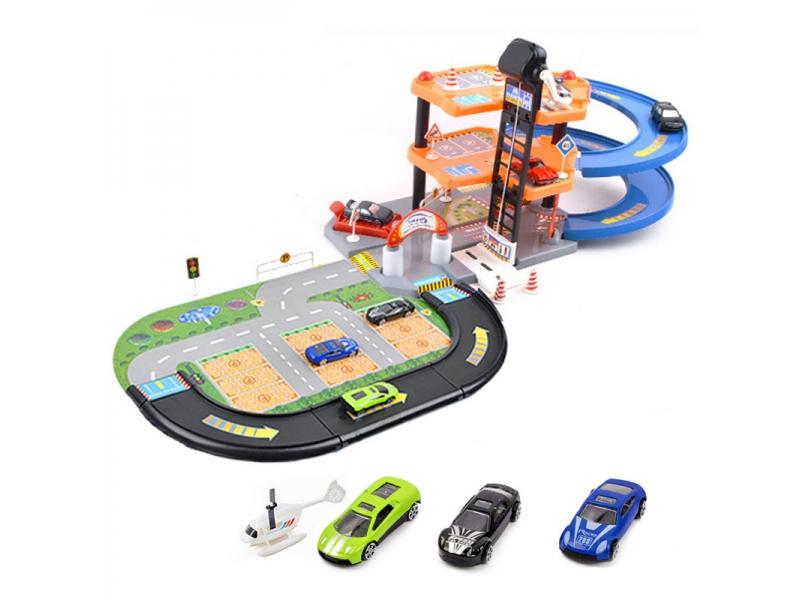 Set pista de masinute Alibibi si parcare cu 3 masinute si un elicopter inclus