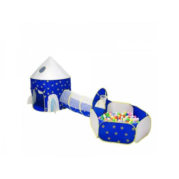 Set cort de joaca pentru copii 3 in 1 in forma de castel Alibibi albastru