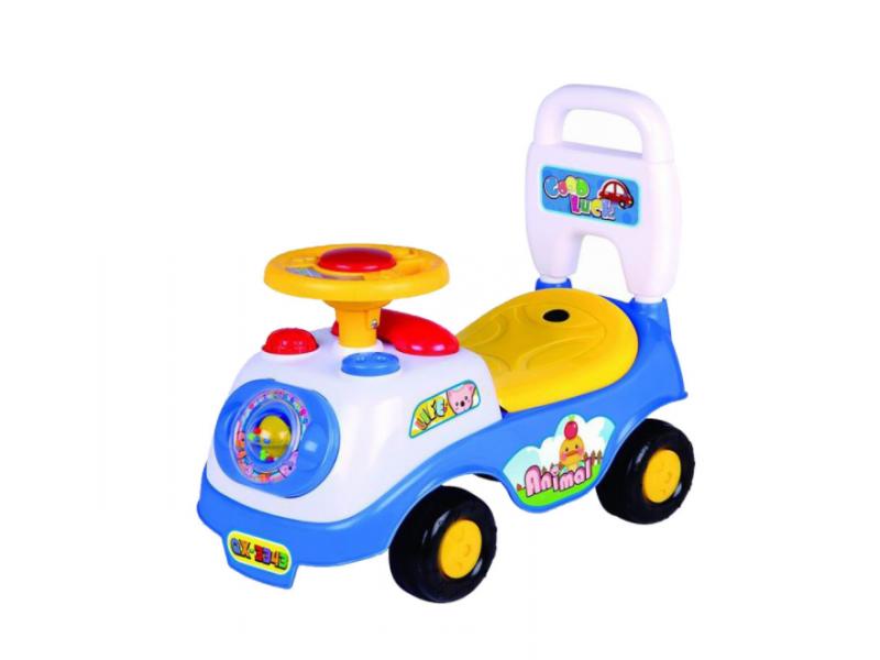 Masinuta Ride On AliBibi cu sunete si claxon, tip premergator, albastru